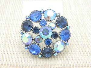 Blue-Aurora-Borealis-Rhinestone-Silver-Tone-Pin-Brooch-Vintage