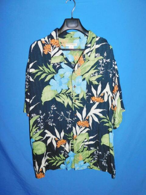 Island Passport 3X Blue Orange Green Hawaiian Shirt Rayon Button Loop Collar 3XL