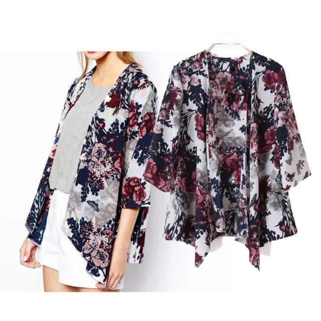 UK Vintage Floral Loose Kimono Boho Chiffon Cardigan Coat Jacket Top Blouse