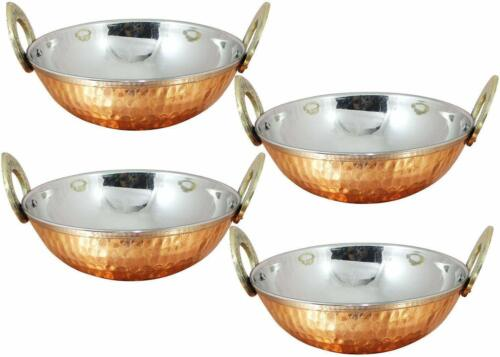 Stainless Steel Hammered Copper Serveware Accessories Karahi Pan Bowl Set Of 4