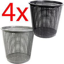 4 X PLASTIC MESH WASTE PAPER BIN WASTEBASKET OFFICE HOME USE BEDROOM RUBBISH