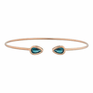 14Kt-Rose-Gold-Plated-London-Blue-Topaz-Pear-Bezel-Bangle-Bracelet