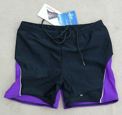 "Acclaim Mens Boys Boxer Swimming Trunks Large 28""/30"" Waist Black Purple Lilac"