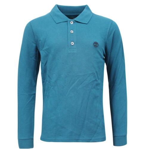 Timberland Long Sleeve Kids Boys Cotton Polo Shirts Top Teal TB0A1441 A79D
