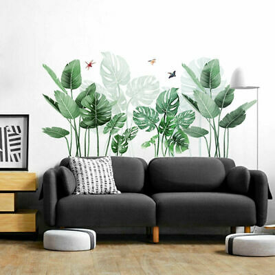 Plant Wall Stickers Art Mural Tropical Green Vinyl Decal Leaves Fadd Living Room