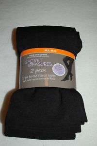 303702643 Womens 2 PAIR PACK FOOTED TIGHTS Fleece Lined SOLID BLACK Soft ...