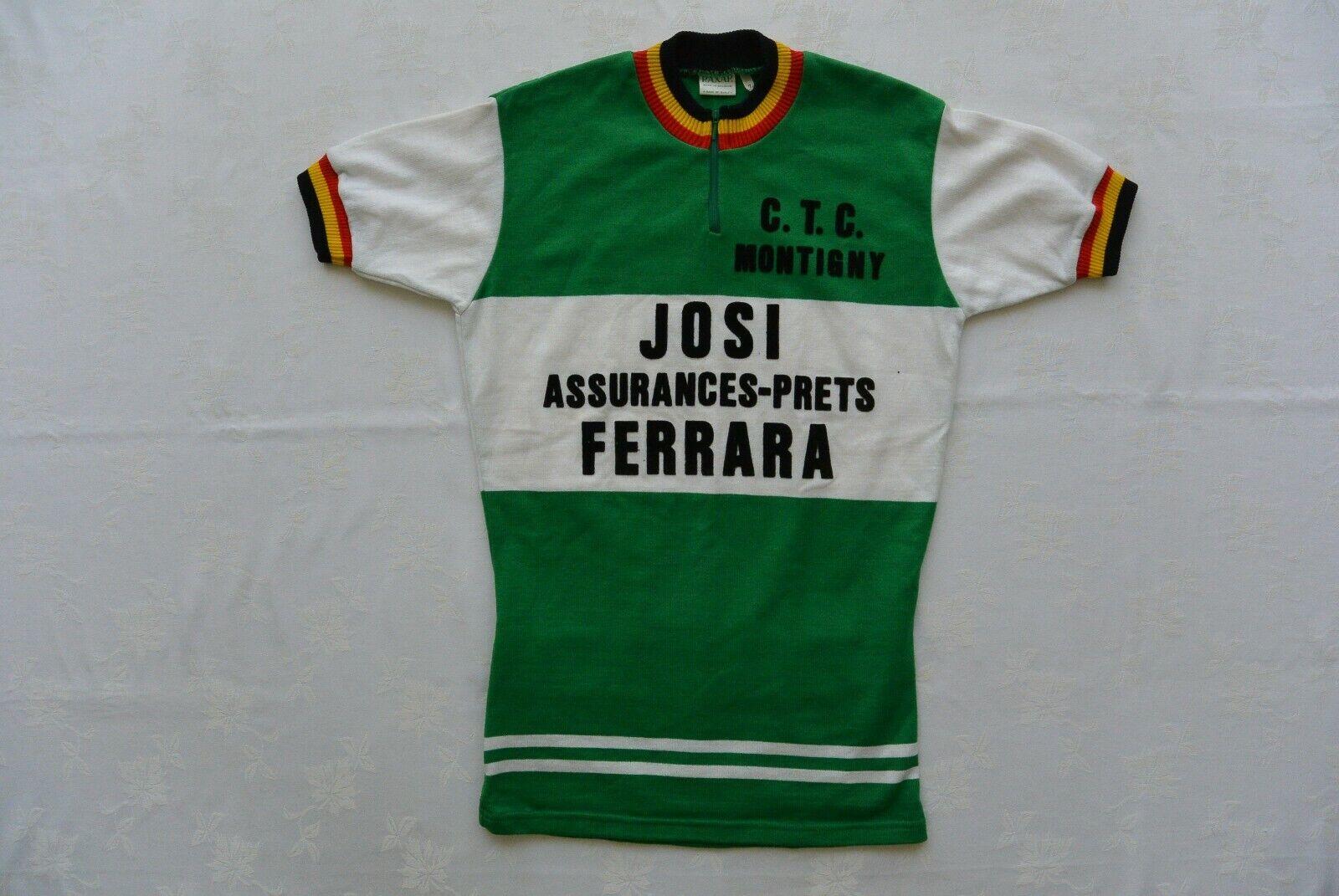 VINTAGE anni'70 Belgio Raxar CTC Montigny Josi Ferrara Ciclismo in jersey VOCABOLARIO ELETTrossoECNICO internazionale