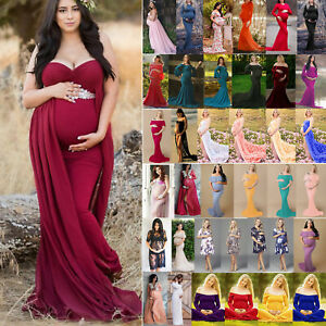 49e571041 Image is loading Pregnant-Women-Maternity-Gown-Maxi-Dress-Wedding-Party-