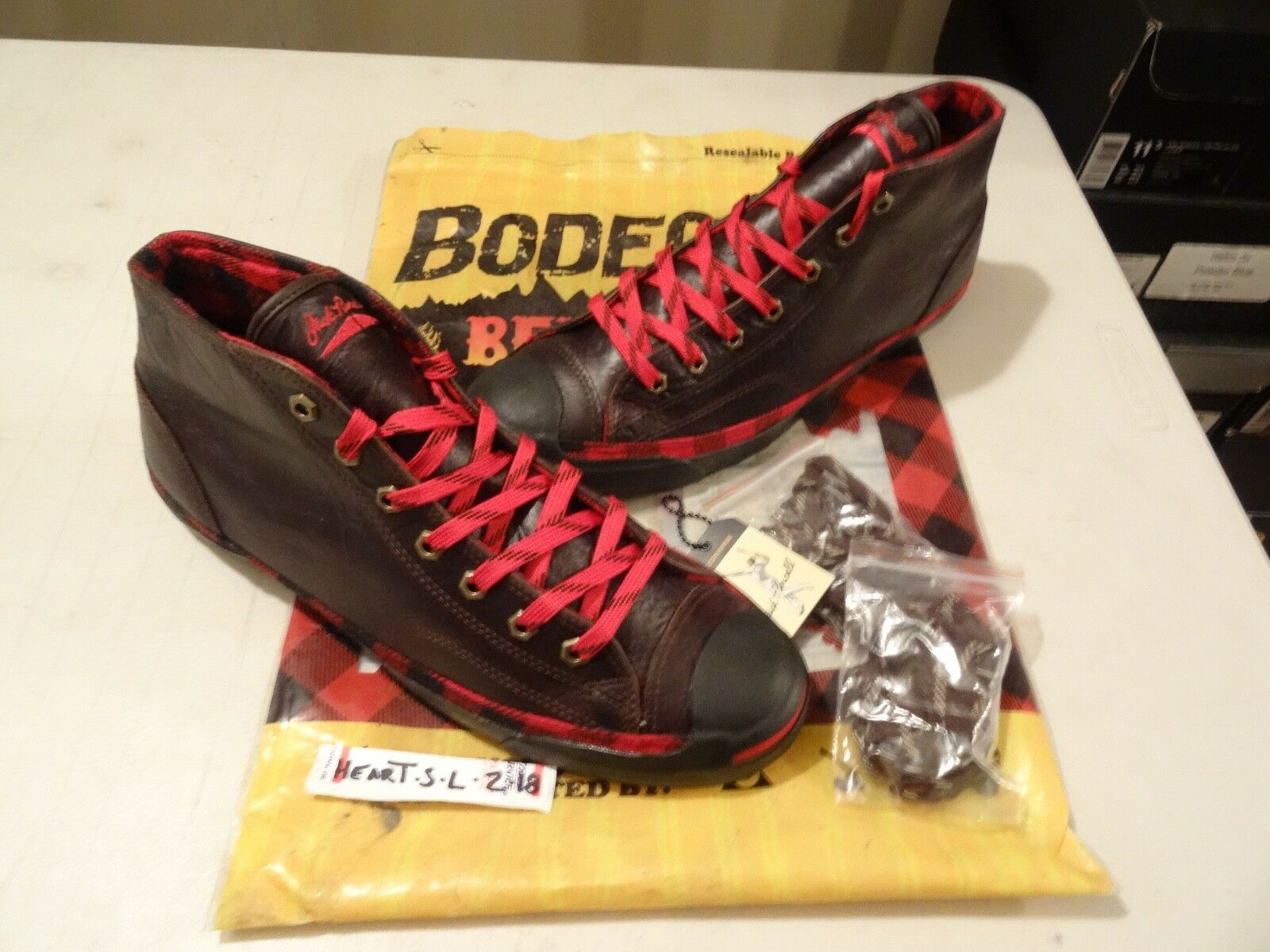 NEW RARE Bodega x Converse Jack Jack Jack Purcell Mid Flannel LEATHER WOOL SZ 11 ALL STAR f7fd7e