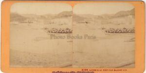 Laveno Port Lac Maggiore Italia Stereo Jean Andrieu Parigi Albumina Ca 1870