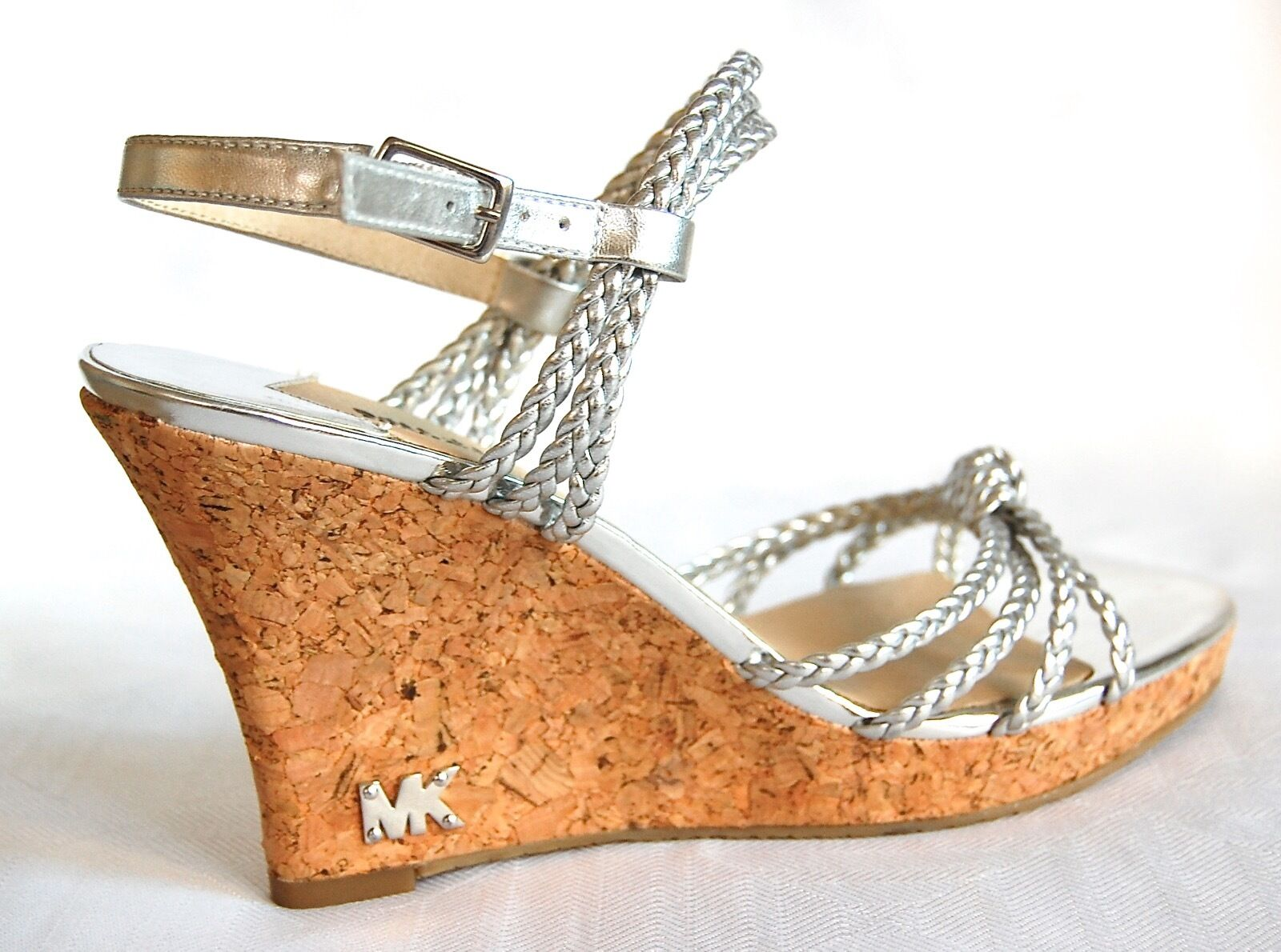Micheal Kors Silver Braided Straps Wedge Cork Wedge Straps 9ce3c8
