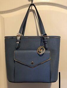6794cb3fc51fc6 $228 MK Michael Kors Saffiano Frame Medium Tote Bag Multi Functional ...