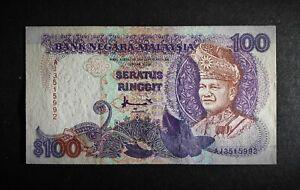 🇲🇾Malaysia 1995 ,7th  Prefix AJ RM100 Ringgit , Light Fold, Good paper quality