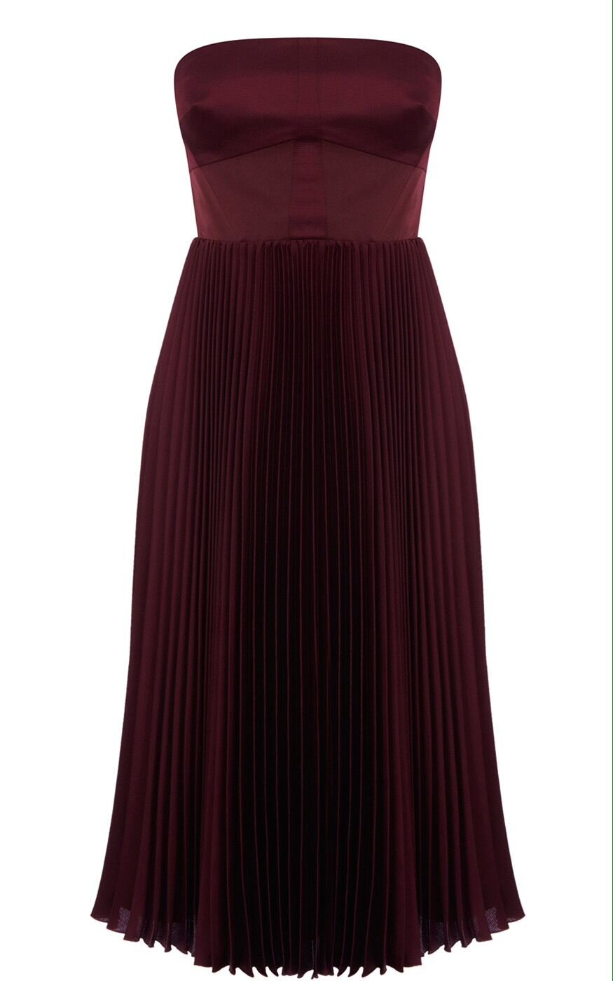 EXQUISITE Karen Millen Aubergine Pleated Dress NEW WITH TAGS RRP