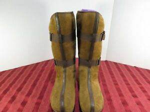 Tsubo-Brown-Suede-Mid-Calf-Boots-with-Leather-Trim-Sherpa-Lining-Women-Sz-7