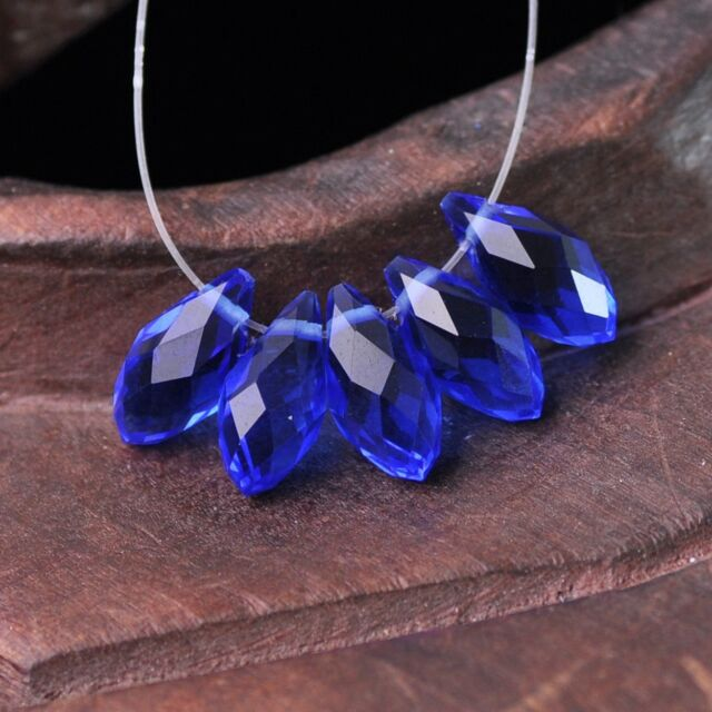 50pcs 12x6mm Teardrop Pendant Faceted Crystal Glass Loose Beads Blue