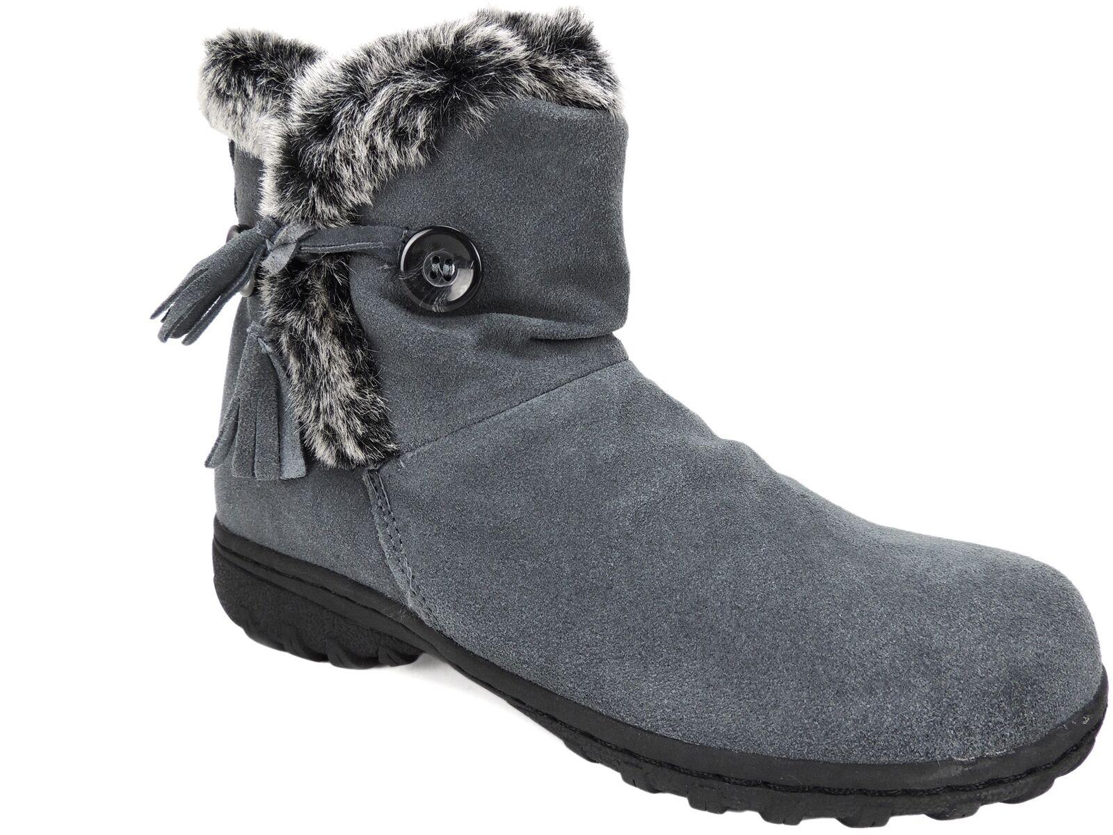 Khombu para mujer Botas de clima frío Isabella Gris Gris Gris Cuero M 428773