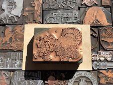 Antique Vtg Fall Thanksgiving Turkey Letterpress Print Type Cut Ornament Block