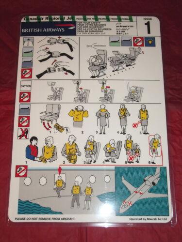 MAERSK AIR SAFETY CARDS CRJ ISSUE 1 /& CRJ200 ISSUE 2  MINT 2 x BRITISH AIRWAYS