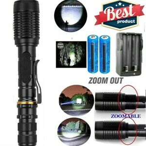 2Set Ultra Brightest 9900000LM T6 LED Tactical Flashlight Zoom Police Torch Lamp