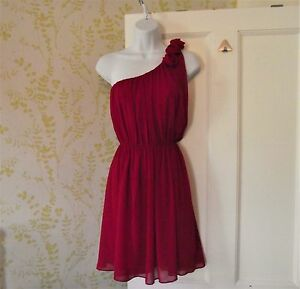 BNWT-MISO-red-one-shoulder-chiffon-party-dress-3D-flower-detailing-UK12-29-99