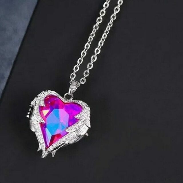 Angel Wings  Purple Crystal Heart Pendant Necklace Austria Crystals