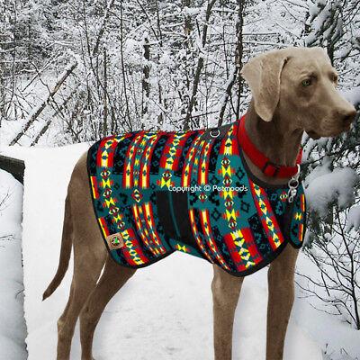 Chilly Dog Coat Blanket Southwest Indian Turquoise Handmade Wool XL XXL NEW 2018