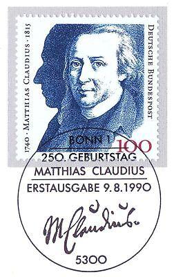 Brd 1990: Matthias Claudius Nr. 1473 Mit Dem Bonner Ersttags-stempel! 1a! 1708 Bequem Zu Kochen