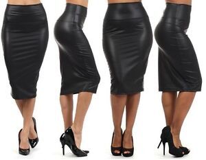 NEW WOMEN BLACK FAUX LEATHER PENCIL SKIRT High Waist Sexy Below ...