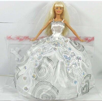 Barbie White Wedding Fashion Dress Outfit , Doll Not Encluded