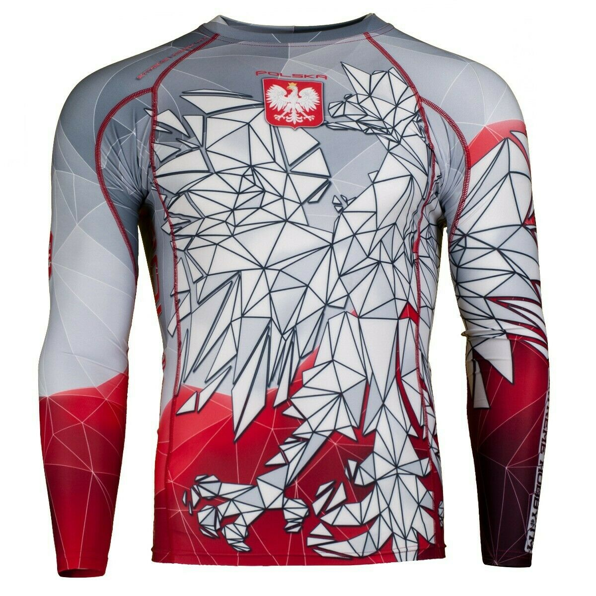 Longsleeve rashguard POLSKA grey-red Extreme  Hobby Training&GYM MMA BBJ  fashion brands