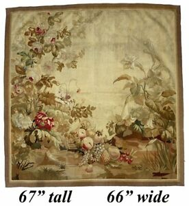 Antique-19th-c-French-Aubusson-Gobelin-Wall-Hanging-67-034-x-66-034-Tapestry-Floral