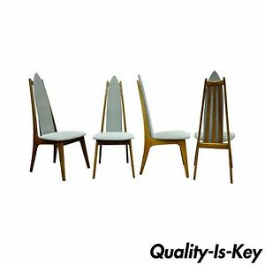 b52e8a302d9c Set of 4 Vintage Mid Century Modern Sculptural Walnut Dining Chairs ...