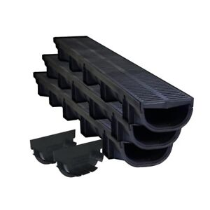 Details about Water drainage Trench Systems Channel Rainfall Sewer Drain  Pipe Driveway 3-pack