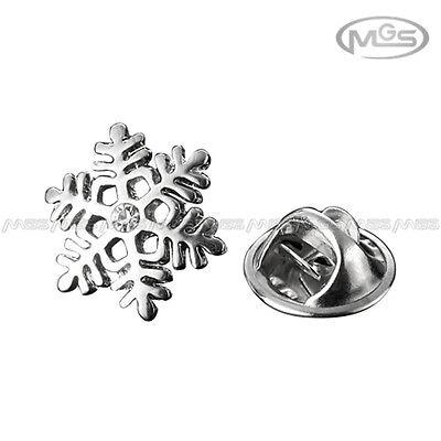 Brooch Emblem Badge Rhinestone Winter Snowflake Silver Suit Mens Lapel Pin Gift