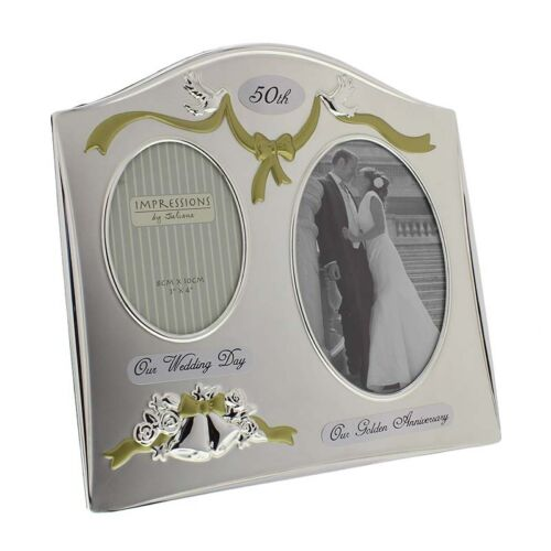 Widdop fs55050 Juliana Photo Frame silverplated double Anniversary 50th Poison New