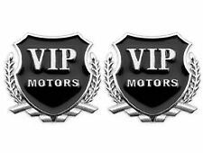 2pc VIP Motors SILVER Car 3D Metal Grille Trunk Badge Decal Logo