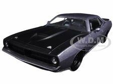 1973 PLYMOUTH BARRACUDA GREY WITH MATT BLACK 1/24 DIECAST MODEL BY JADA 98235