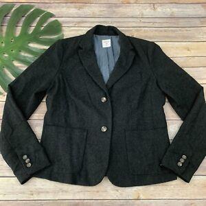 Gap-Womens-Academy-Blazer-Size-12-Dark-Gray-Wool-Blend-2-Button-Solid
