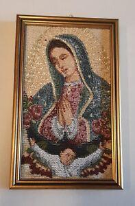 Tapisserie De La Madonna De Guadalupe Avec Cadre Or Cm