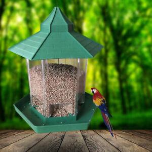 Mangiatoia-per-Uccelli-Set-Vassoio-Rimovibile-con-Fori-di-Drenaggio-Casa-Forma