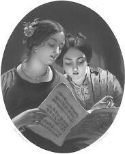 Pretty YOUNG GIRLS Twin SISTERS SING DUET ~ Antique Old 1862 Art Print Engraving