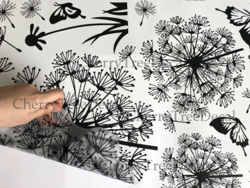 Flying Dandelion Flower Butterfly Wall Decal Stickers Home Art Decor Living Room