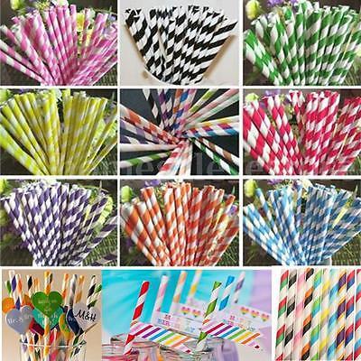 25/50/100pcs Biodegradable Paper Drinking Straws Striped Birthday Wedding Party