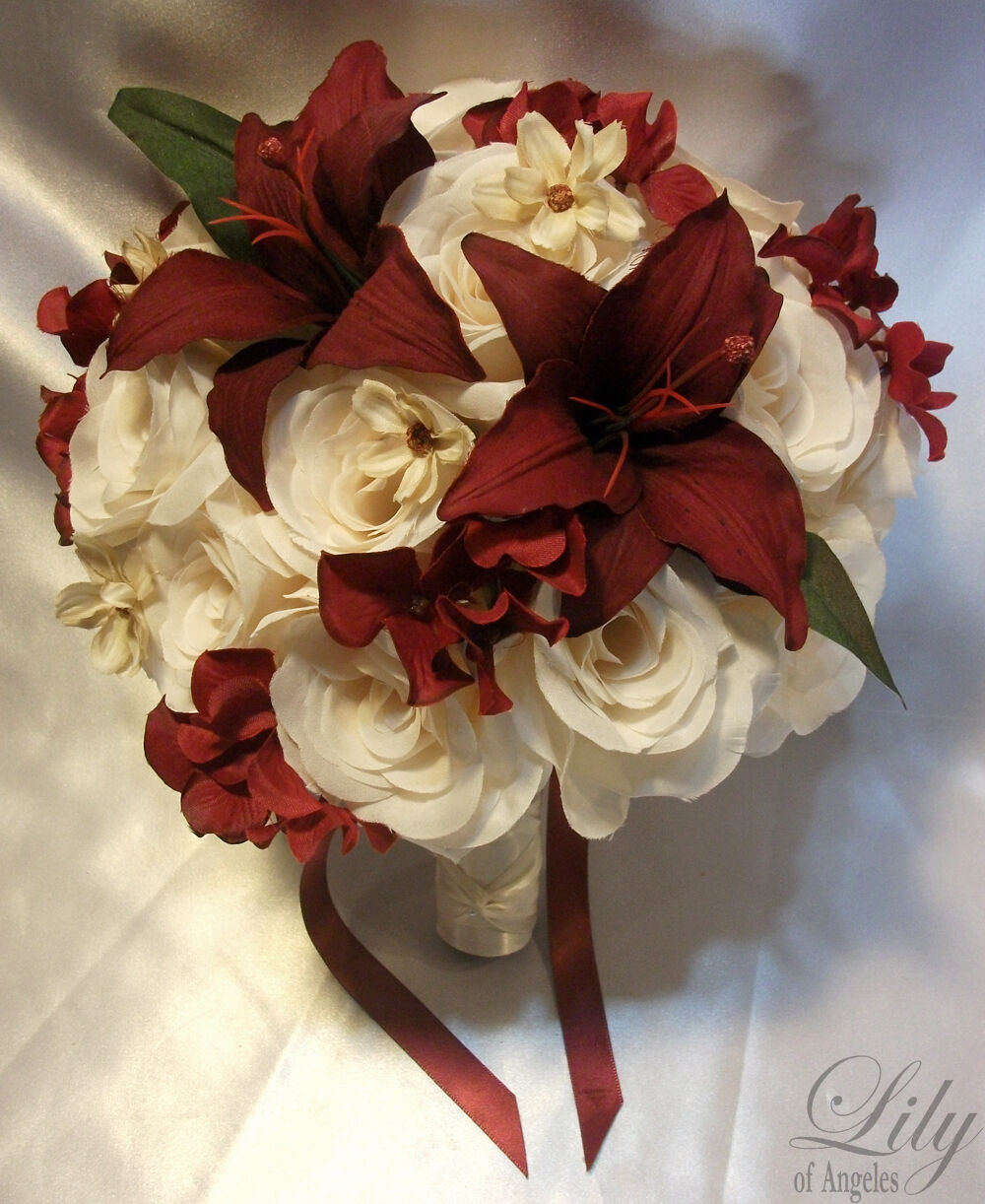 17pcs Wedding Bridal Bouquet Flowers Bride Bridesmaid Boutonniere Ivory Burgundy