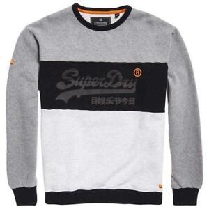 bb8ef22e5c468 Image is loading Superdry-Vintage-Logo-Panel-Crew-Neck-Sweatshirt-Blizzard-