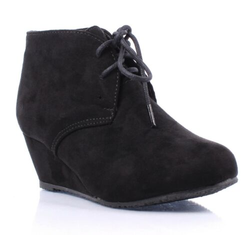 Black Pumps Lace Up Girls Wedge High Heels Kids Ankle Boots Shoes Size 9