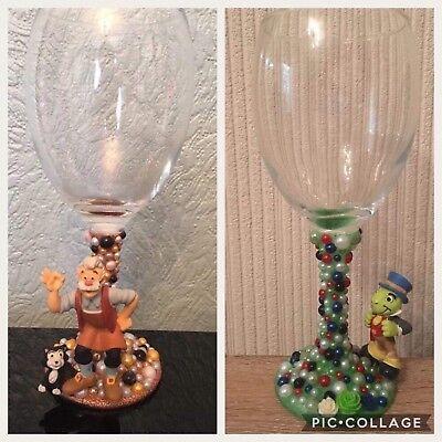 Disney Gepeto & Jiminy Cricket Figure Wine Glasses Xx Pinocchio Xx Set Of 2 Xx Kan Herhaaldelijk Worden Omgedraaid.