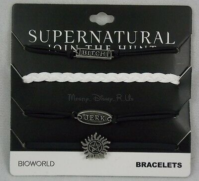 New Supernatural 4Pk Cord Bracelet Wristband Set Jerk Anti-Possession Symbol