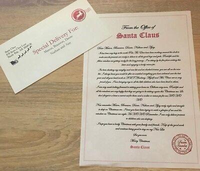 Personalizzato Lettera Da Padre Natale Babbo Natale Busta Magico Renne Cibi-mostra Il Titolo Originale